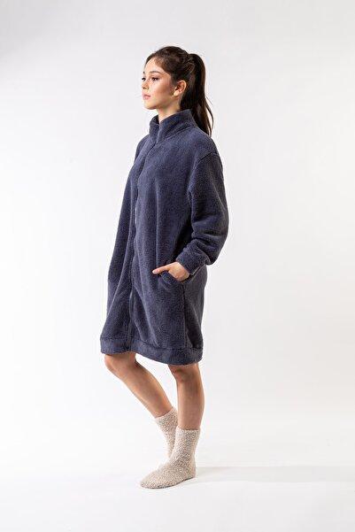 Minteks Kadın Mavi Dik Yaka Fermuarlı Uzun Ceket