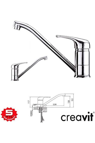 Creavit Mutfak / Evye / Eviye Bataryası Armatürü Larix Lr4101