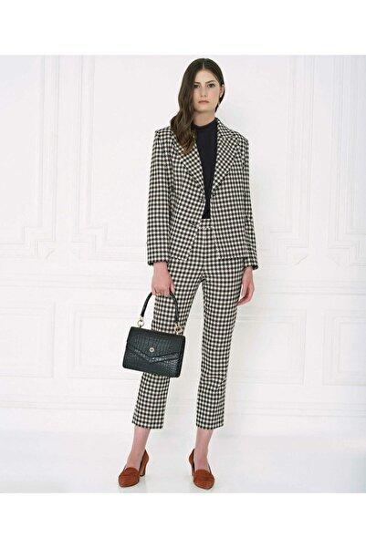 Aker Kadın Siyah Kazayağı Desenli Ceket
