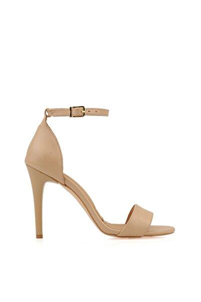 PUNTO Kadın Ten Tek Bant Topuklu Ayakkabı