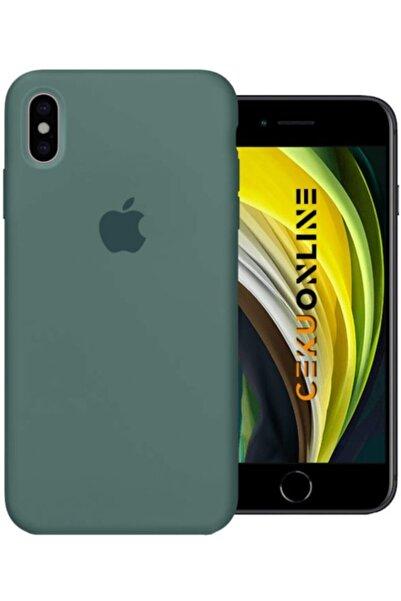 Cekuonline Iphone X Xs Uyumlu Kılıf Lansman Içi Süet Tam Uyumlu Kılıf Logolu - Koyu Yeşil