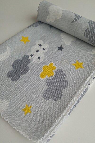 AyCaTa Çok Amaçlı Müslin Bezi Örtü Bebek Battaniyesi Bulutlu Yıldızlı Gri 80x90 Cm 1 Adet