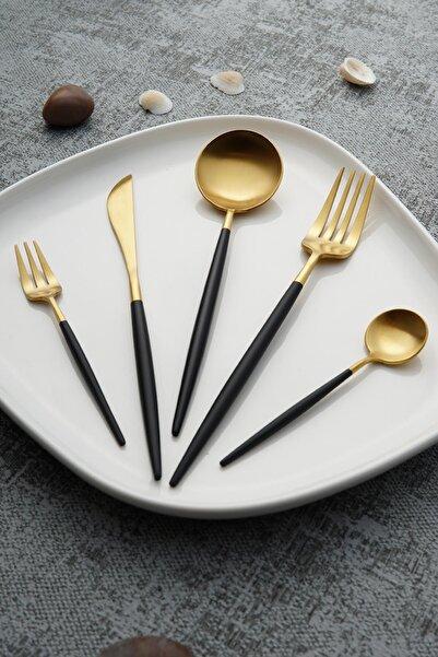 ACAR Bellia Gold Paslanmaz Çelik 30 Parça Çatal Kaşık Bıçak Takımı - Siyah
