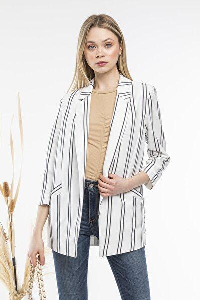 SİSLİNE Kadın Beyaz Çizgili Ceket