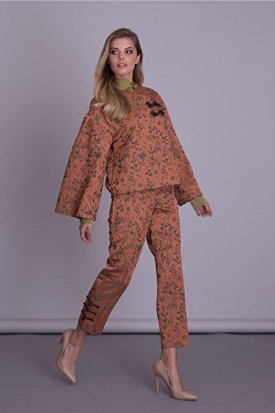 GIZIA CASUAL Volanlı Kol Çiçek Desenli Tarçın Renkli Ceket