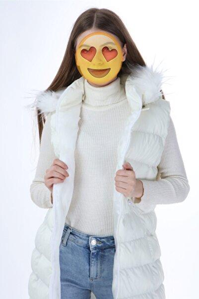 Altay Kadın Seyyar Kapşonlu Beyaz Şişme Yelek - 95cm
