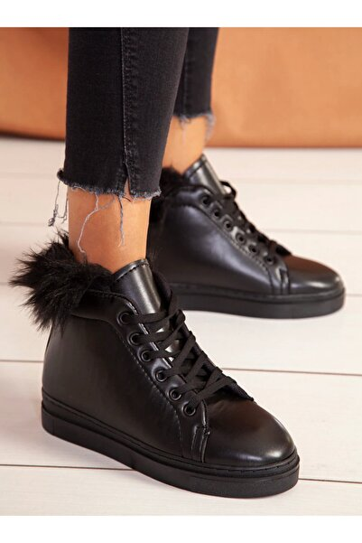 ayakkabıhavuzu Kadın Siyah Bot Cilt  Ayakkabı