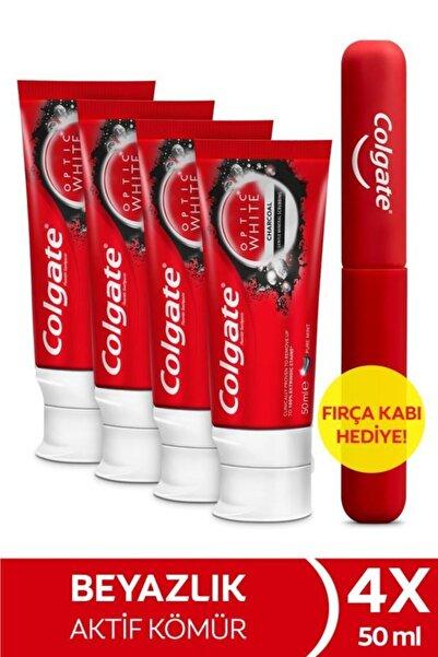 Colgate Optic White Aktif Kömür Beyazlatıcı Diş Macunu 50 ml x 4 Adet + Fırça Kabı Hediye