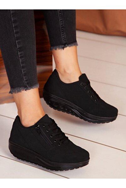 ayakkabıhavuzu Kadın Siyah Süet Spor Ayakkabı