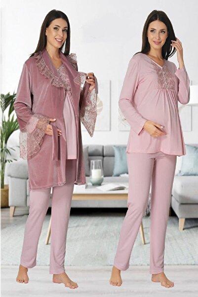 Effort Pijama Kadın Pudra Kadife Sabahlıklı Lohusa Hamile Pijama Takımı 8088