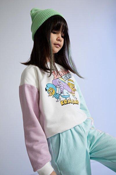 DeFacto Kız Çocuk Kral Şakir Lisanslı Renk Bloklu Sweatshirt T5595A621SP