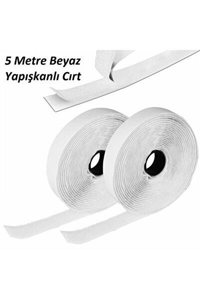 Dünya Magnet 5 Metre Arkası Yapışkanlı Beyaz Cırt Cırtlı Bant - Kaliteli Cırt Bant - Çırt Çırt Band - En 2cm