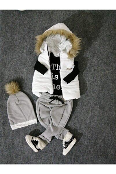 Hippıl Baby Unisex Bebek Beyaz Gri Siyah Kapüşonlu Şişme Yelekli 4'lü Takım