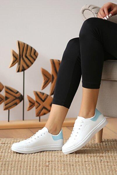 Pembe Potin Kadın Beyaz Mavi Casual Ayakkabı