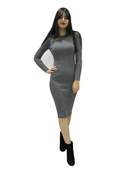 Fashion Friends Kadın Gri Uzun Triko Elbise