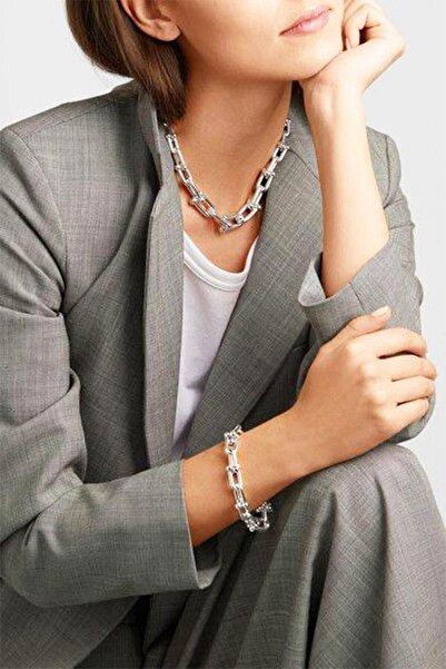 X-Lady Accessories Kadın 2'li Gümüş Renk Kalın Zincir Kolye Ve Bileklik Seti