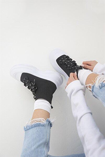 STRASWANS Kadın Streç Triko Bağcık Detay Spor Ayakkabı