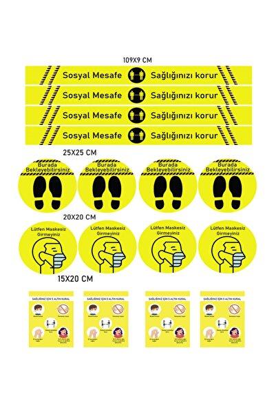 ELF Sosyal Mesafe Uyarı Sticker 5 Li Set 20 Adet Sarı Dp 600