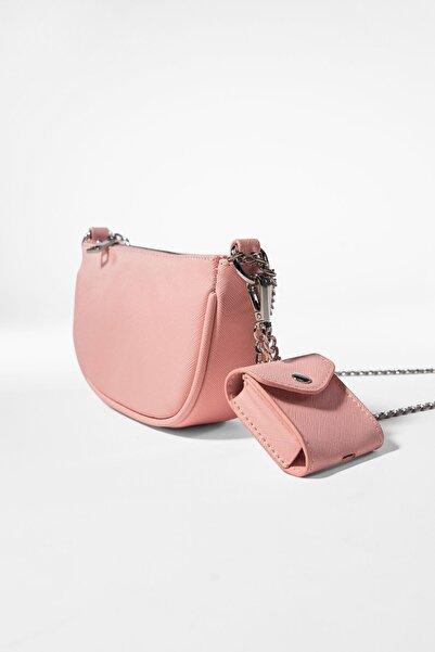 Bershka Kadın Pembe  Kılıf Detaylı Zincirli Askılı Mini Çanta