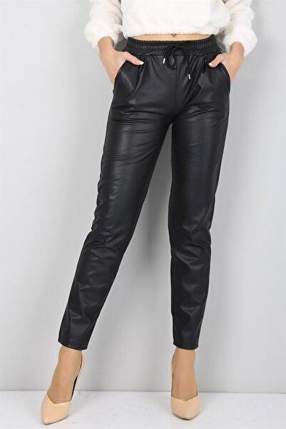 IŞILDA Kadın Siyah Beli Lastikli Düz Paça Deri Pantolon