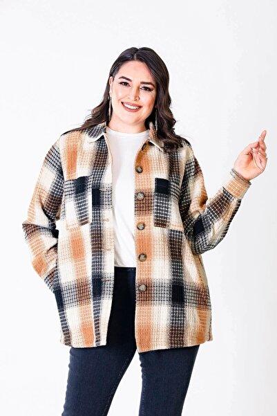 MYLİNE Kadın Kahverengi Dokulu Kareli Astarlı Ceket