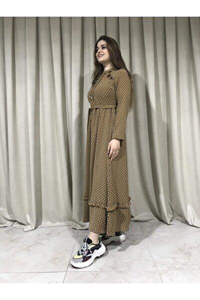 TMR Fırfır Detaylı Bürümcük Desenli Kuşaklı Elbise