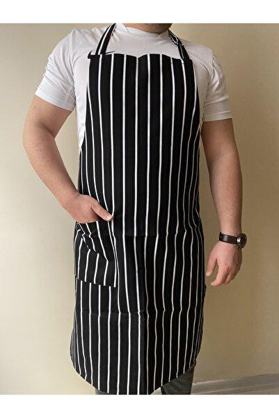 Umut Tekstil Mutfak Garson Aşçı Şef Iş Servis Önlüğü Boydan Askılı Cepli Unisex Siyah Beyaz Çizgili