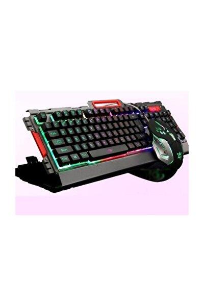 POLYGOLD Pg8016 Oyuncu Klavye Mouse Seti Mekanik Hisli Rgb Işık Nefes Modu Silver