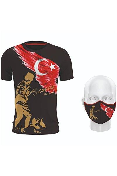 Hediyexpres Unısex Siyah Mustafa Kemal Atatürk Ve Türk Bayrağı Baskılı Tshirt ve Maske