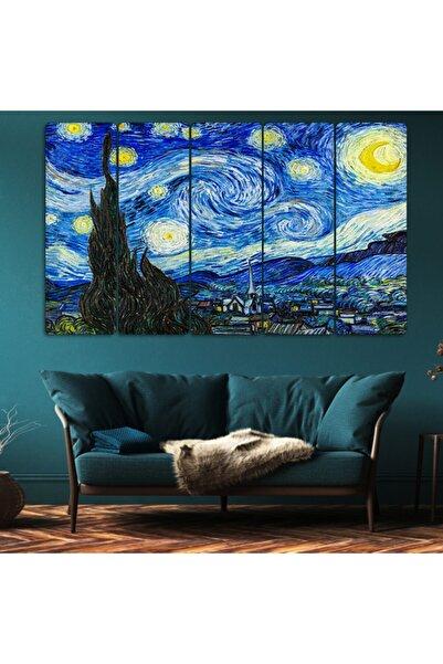 Evonya Van Gogh Yıldızlı Gece - 5 Parçalı Dekoratif Tablo