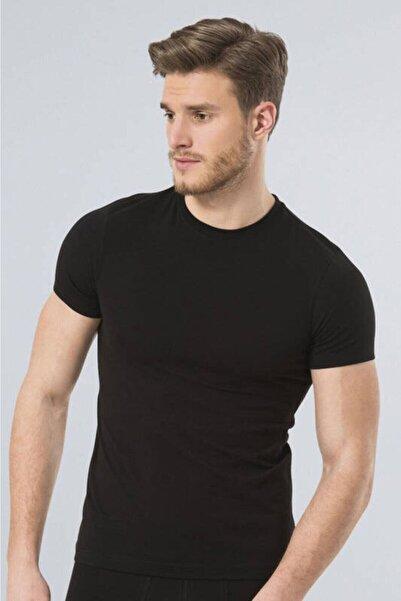 TÜREN Erkek Siyah Sıfır Yaka Likralı Tişört 164