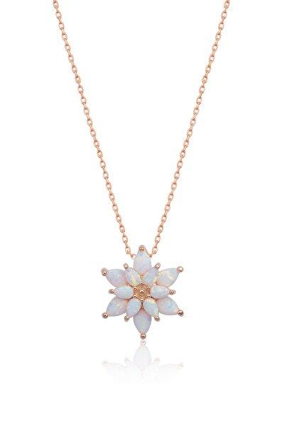 Papatya Silver 925 Ayar Beyaz Opal Taşlı Gümüş Lotus Kolye