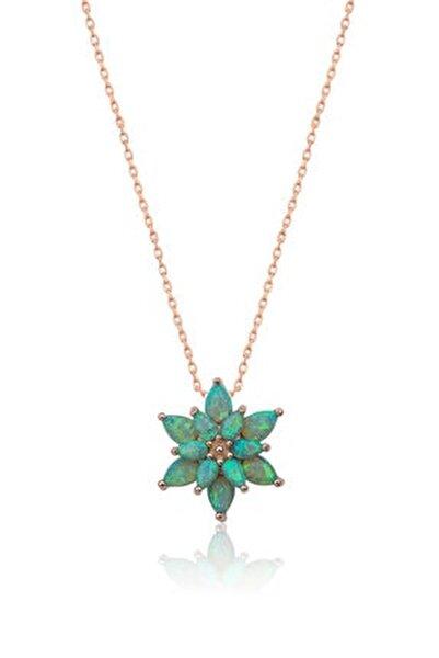 925 Ayar Yeşil Opal Taşlı Gümüş Lotus Kolye