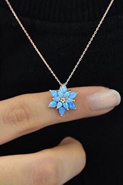 Kadın Turkuaz Opal Taşlı Lotus Gümüş Kolye