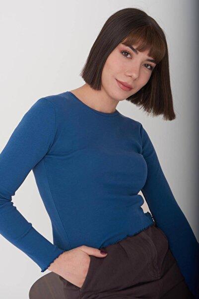 Addax Kadın İndigo Basic Bluz P1084 Adx-0000023311