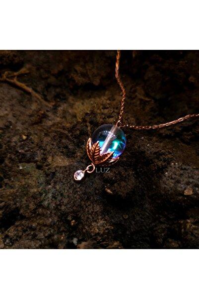 Luz Silver Kadın Rose Gold Peri Kolye Aura Quartz 925 Ayar Gümüş
