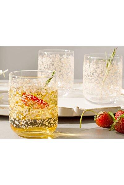 English Home Açık Krem Natural Flower Cam 3'lü Meşrubat Bardağı 270 ml