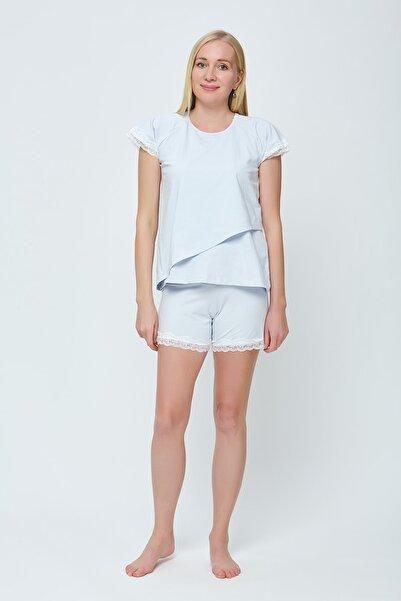 Motherway Kadın Mavi Pamuklu Şortlu Emzirme Hamile Pijama Takımı