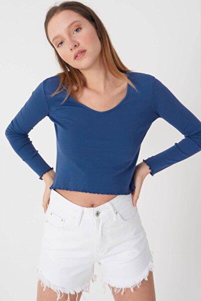 Addax Kadın Indigo V Yaka Bluz P1085 - E11 Adx-0000023312