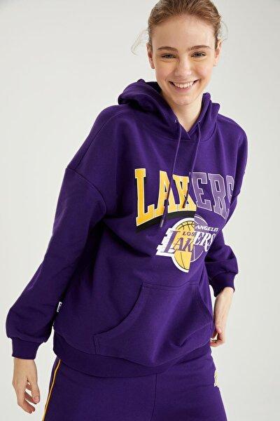 DeFacto Kadın Lakers Lisanslı Kapüşonlu Relax Fit Sweatshirt T5410AZ21SP