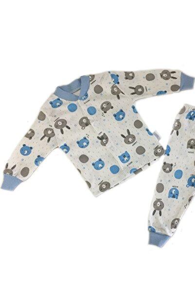 MODA PENGUEN Unisex Bebek Mavi Ayıcıklı Pijama Takımı 2'li