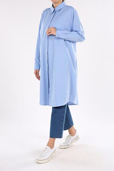 ALLDAY Kadın Koyu Mavi Büyük Beden Gömlek Tunik