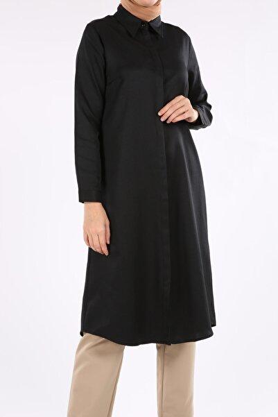 ALLDAY Kadın Siyah Gizli Patlı Uzun Tunik