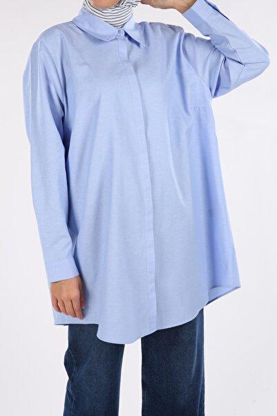 ALLDAY Koyu Mavi Büyük Beden Gömlek Tunik