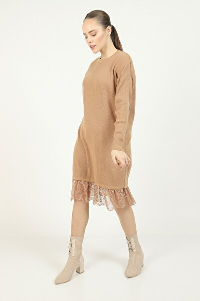 İklim Kadın Bisküvi Rengi Altı Dantel Tunik