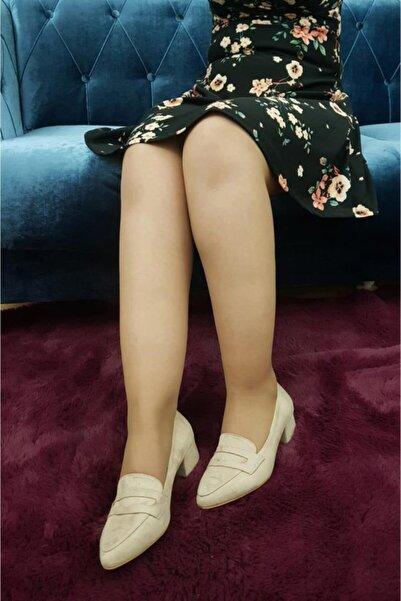 TREND Kadın Bej Topuklu Babet Ayakkabı Süet Ox03