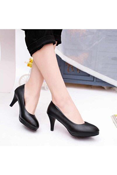 Efem Kadın Siyah Rugan Platform Topuklu Ayakkabı