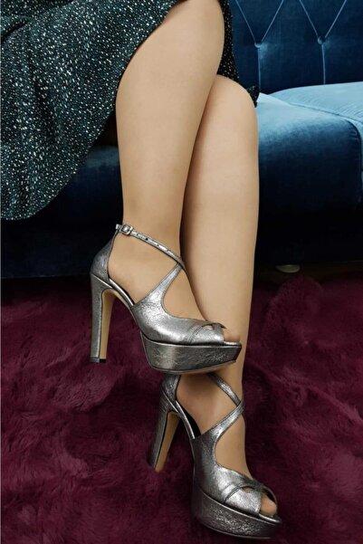 TREND Kadın Topuklu Ayakkabı Platin Ox30