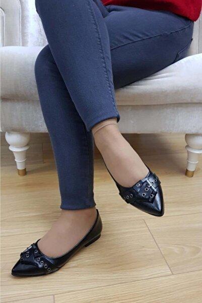 TREND Kadın Siyah Rugan Günlük Ayakkabı