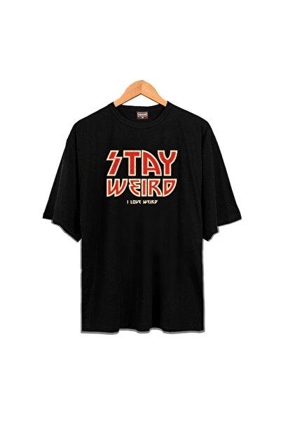 Venice Unisex Siyah Stay Weird Oversize Tshirt